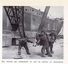 59 DUNKERQUE TUYAUX QUI CONDUISENT LE BLE DU BATEAU AU SOUTERRAIN IMAGE 1948