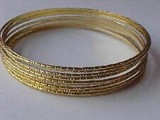 """Gold Bracelets Etched Bangle Bracelets SET of 10 NEW 2-3/4"""""""