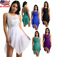 US Women Girl Sequin Lyrical Contemporary Ballet Leotard Dance Dress Skate dress
