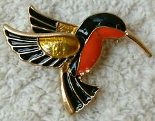 CUTE METAL ENAMEL BEE HUMMINGBIRD BROOCH PIN NEW