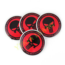 4pcs 56.5mm Punisher Logo Emblem Car Steering Wheel Center Hub Cap Badge Sticker