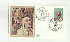 136434 RARA BUSTA FILATELICA SANTA CATERINA DA SIENA CON INSERTO IN SETA