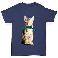 Twisted Envy Boy's Cat Eats Shark Funny Cotton T-Shirt