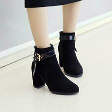 Womens Ankle Boots Chelsea Block Heel Stretch Ladies Pull On Booties Size new