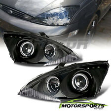 [LED Halo] 2000 2001 2002 2003 2004 Ford Focus Projector Black Headlights Pair