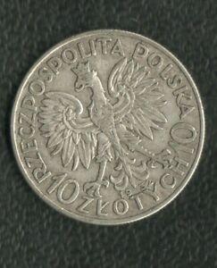 POLAND 10 ZLOTICH 1932 SILVER