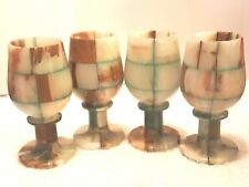 COLLECTIBLE SET OF 4 HAND CARVED NATURAL ONYX MARBLE AGATE WINE GOBLETS 5.5 IN.
