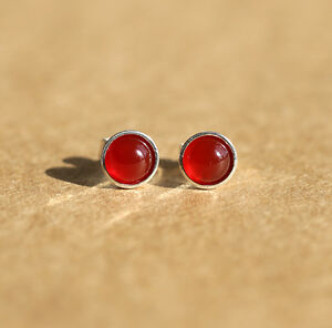 925 Sterling silver stud earrings with natural Carnelian gemstones