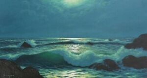 PAINTING ON A CANVAS OF A BEACH AT NIGHT