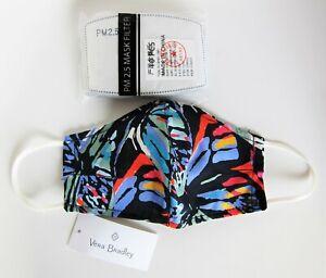 Vera Bradley Cotton Face Mask + 10 PM 2.5 Mask Filters (Butterfly Flutter)
