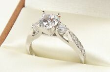 1.60TCW ROUND Brilliant Cut 14k Solid White Gold engagement & Wedding Ring