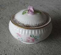 Vintage Small Enesco Maururi Masterpiece Bone China Flower Trim Ring Box