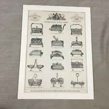 1880 Antique Advertising Print Silver Sardine Boxes Victorian Original Advert