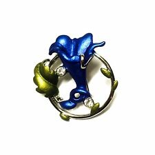 Blue Enamel Mothers Day Gifts New Lily Flower Brooch Pin Crystal Silver Plated