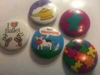 "Five Buttons:SET of  1""  Ballet/Cows/Puzzle/Star/Genie Put on backpack, jacket"