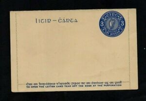IRELAND. 1930s. 3d BLUE POSTAL STATIONERY LETTER CARD. UNUSED. cat no. Mi K6.