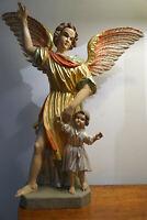Alte Holz Figur Kirche Schutzengel mit Kind geschnitzt gefasst 57 cm um 1945