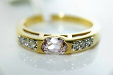 BRAZILIAN KUNZITE & G/H Si1 DIAMONDS 18CT GOLD RING N7 JEWELLERS OLD STOCK SALE