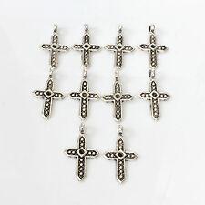 10pcs Tibetan Silver Cross Charms