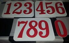 "3 NOS 1970s 5-1/2"" RED Number Plate Decals MX Motocross BMX Vintage AHRMA U-PICK"