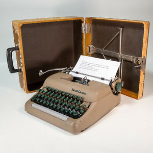 Vintage 1955 Smith Corona Sterling Typewriter W Tan Case New Ribbon Works Great!