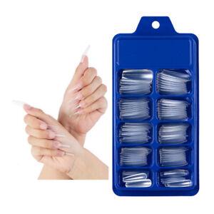 100Pcs False Nail Tips Full Cover Long Coffin Fake Nails (one free nail tapes)