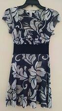 White House Black Market S sheer gray stretch flare empire waist top dress WH-BM