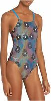 Speedo Women's Swimsuit One Piece Endurance Turnz Tie Back, Blue Lemonade, Size