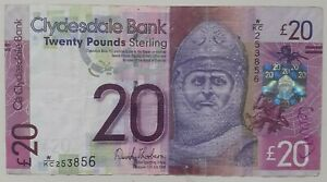 Real 2009 £20 Clydesdale Bank note from day of first release. Good condition.