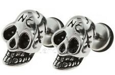 PAIR of 316L Surgical Steel Fake Plug with NC Skull