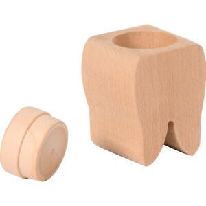 Zahndose aus Holz als Zahn Milchzahndose zum Bemalen 4x4x6cm