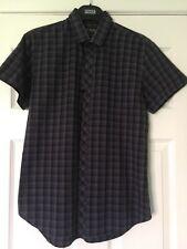 Burton Menswear Small Mens Checkered Chequered Shirt Black Blue Purple Dark