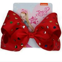 "8"" JoJo Siwa peach heart Hair Bow With Alligator Clip Girl Kids Bowknot"