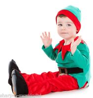 Boys Girls Kids Santa Elf Christmas Fancy Dress Costume Outfit 18 months-5years