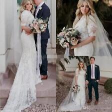 White Ivory Lace Mermaid Wedding Dress Bridal Gown Custom Size 4 6 8 10 12 14+
