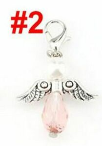 9pcs Guardian Angel Glass Charms Colorful Angels Wings Pendants Jewelry Making A