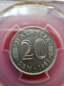 20 Cent Malaysia Federal elective constitutional monarchy 1981 UNC PCGS MS 63