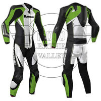KAWASAKI MOTORBIKE/MOTORCYCLE COWHIDE RACING LEATHER SUIT LEATHER BIKER SUIT