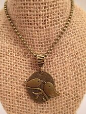 """necklace love birds antiqued gold tone bronze color 20"""" ball chain"""