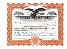 Share / Loan  Blank Certificate Becker Metals Corporation