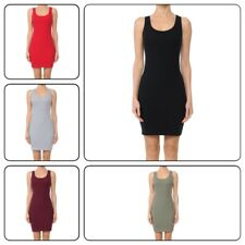 Women's Sleeveless Tank Dress Basic Scoop Neck Bodycon Midi Dress (S-L)