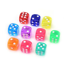 10Pcs Square Transparent Dice Acrylic Craps Casino Bar Toy Game 14mm ESUS