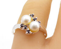 925 Sterling Silver - Freshwater Pearls & Sapphire Bypass Band Ring Sz 8- RG5703