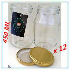 12 x Dessert Pudding/Lolly/Candy JAM Glass Jar w/h RUBBER SEAL GOLD LID 450 ml a