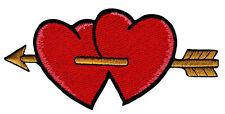 as78 Rote Herzen Pfeil Amor Liebe Aufnäher Bügelbild Flicken Patch 11,5 x 5,3 cm