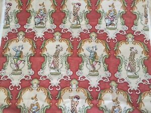 """2.78Yd RARE Cowtan & Tout Harlequin Heavy Hand Printed Cotton Jester Fabric 100"""""""