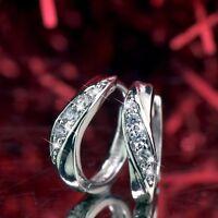 18k white gold gf huggie clear crystal earrings wave pattern fashion jewelry