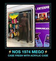 "VTG 1974 Orig MEGO STAR TREK Klingon 8"" Action Figure MOC acrylic CASE FRESH NOS"