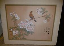 Vintage Antique Japanese Wood Block Print Silk Bird Flowers Signed Matted