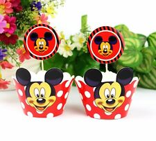 24pcs Mickey Mouse 12Wraps +12 Cupcake Cake Toppers Muffins Kids Birthday Party